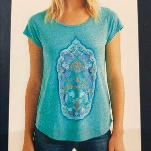 🆕Lucky Brand Boho Gypsy Teal Tribal Print T Shirt